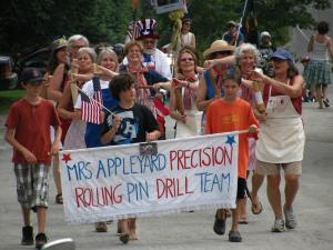 The precision rolling pin drill team in the Maple Corner 4th of July parade