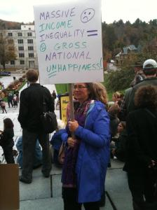 At the Vermont statehouse for a 2011 Occupy protest.
