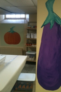 Two of the paintings our church group created at the local food shelf.