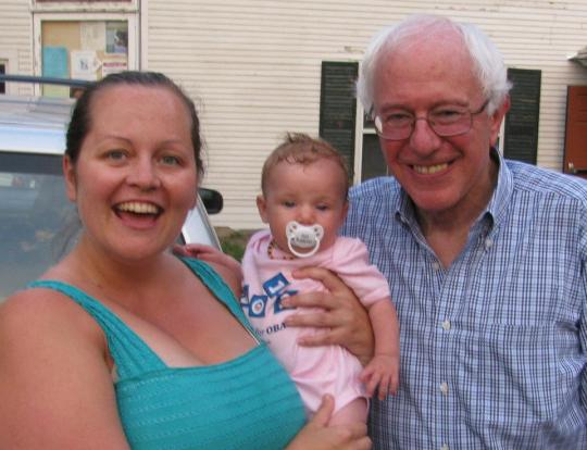 My daughter Jennifer and granddaughter Madeleine with Bernie Sanders in Maple Corner in 2012, just after his presentation and moments before the baby melted down.