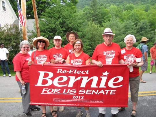 Getting ready to march with Bernie Sanders in the Warren, VT Fourth of July parade in 2012.