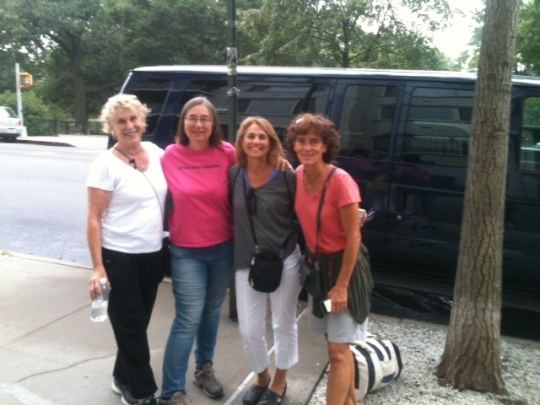 Ginger, me, Paula, and Linda getting ready to march!