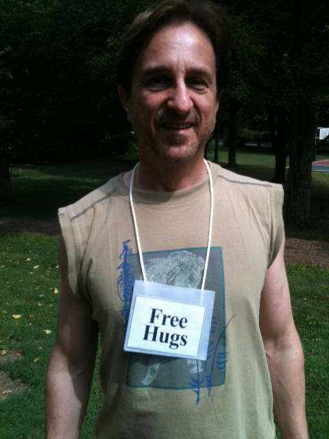 Free hugs at Omega Institute in Rhinebeck, NY.