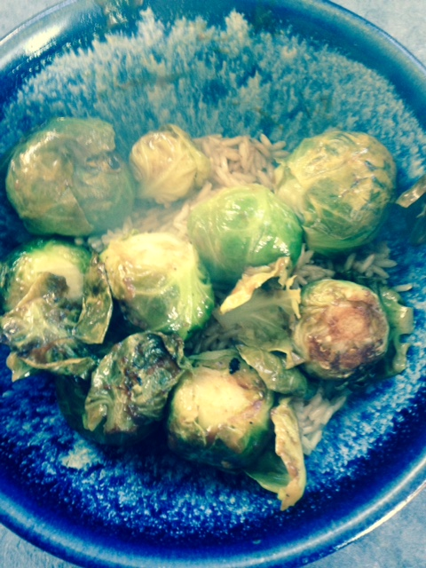An unexpected pleasure: brussel sprouts for lunch.