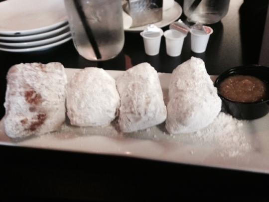 Beignets for breakfast in Lafayette, Louisiana.